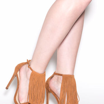 Famous For Fringe Faux Suede Heels