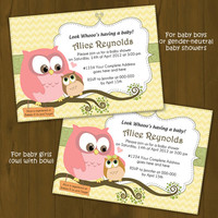 Owl BABY SHOWER invitation - Mother Owl and Baby Owl Baby Shower Printable Invitation - perched on branch