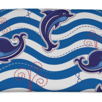Bath Mat, Sea Pattern With Dolphins Whales And Buttons On Stripe