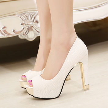 Autumn Peep Toe Stylish High Heel Shoes [6044949697]
