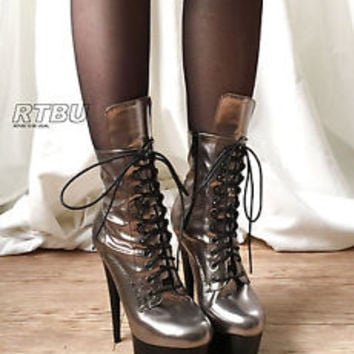 15cm Custom Handmade Punk Glam Metallic Faux Leather Laceup Ankle Platform 36-43