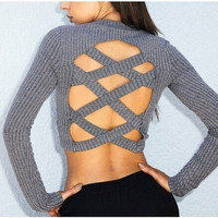 New Autumn and Winter 2016 Fashion Women's Sexy Cross Back Long-sleeved Knit Sweater [8833585740]