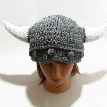 Crochet Cabled Horned Viking Beanie Hat in Grey