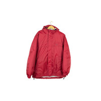 NIKE red insulated parka jacket with hood - text logo - mens coat size medium
