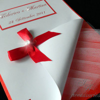 Wedding Invitation or Partecipation card - Model Bride Vanity - Color Red and White