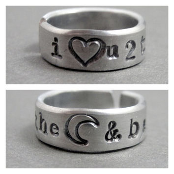 Skinny Ring - I Love You to the Moon and Back- Hand Stamped Aluminum Ring - Customizable