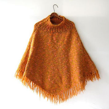 vintage wool poncho. pullover sweater. knitted shawl with fringe. thick chunky knit,