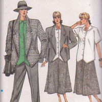 1980s vintage pattern for  loose fitting unlined jacket and top with tapered pants and flared skirt misses size 8 10 12 Vogue 9664 UNCUT