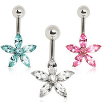 316L Surgical Steel Belly Button Navel Ring with Star Shaped Flower