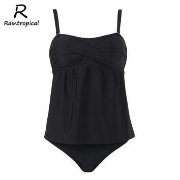 Raintropical New Sexy Women Swimwear Female Swimsuit Plus Size Tankini Set Solid Bottom Summer Swim Beach Wear Bathing Suits