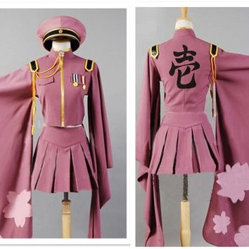 Senbonzakura Vocaloid Cosplay Costumes Hatsune Miku Full Set Cosplay Uniforms Free Shipping (Top + Skirt + Cap + Socks + Gloves)