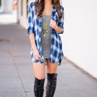 Something About You Flannel Button Up Dress (Navy)