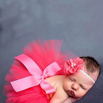 Hot Pink Tulle Tutu Newborn Adjustable Velcro Waist With Headband Photo Prop - CC549HP
