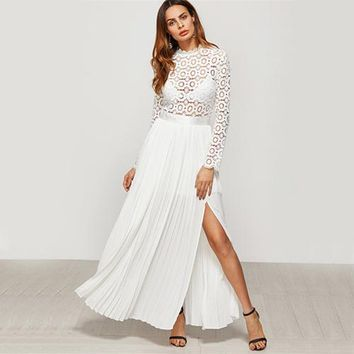 COLROVIE White Embroidery Lace Dress Women Elegant Eyelet Maxi Party Dresses Fall Fashion Sexy Split Pleated A Line Dress