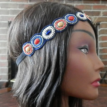 Bohemian Beaded head band, Aqua Jewel seed beaded, Stretchy elastic backing, Navy Blue, Stone beaded applique headband, non slip backing