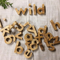 Solid Oak Wood Lowercase Letters Alphabet, Natural Oak Wood Small Letters Alphabet, Heirloom Solid Oak Set, Lowercase Alphabet Letters