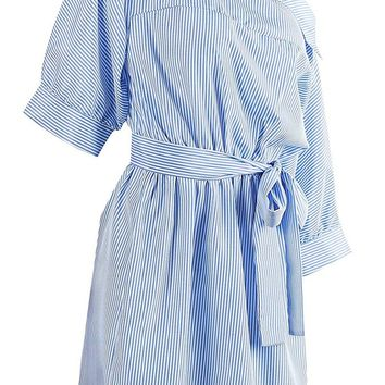 On The Promenade Blue White Vertical Stripe Elbow Sleeve Off The Shoulder Tie Waist Blouse Mini Shirt Dress