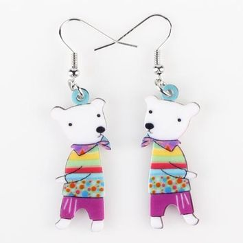Drop Bear Earrings Acrylic Pattern Long Danlge Earrings  Animal New Fashion Jewelry For Women  Accessories