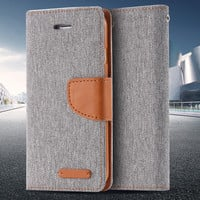 Leisure Women Man Stand Wallet Flip Case For iPhone 6 7 Fashion Hit Color Card Slot Leather Cover For iPhone 7 6s Plus With Logo -JMJewelry