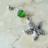 Starfish Belly Button Ring Green Crystal Belly Button Jewelry