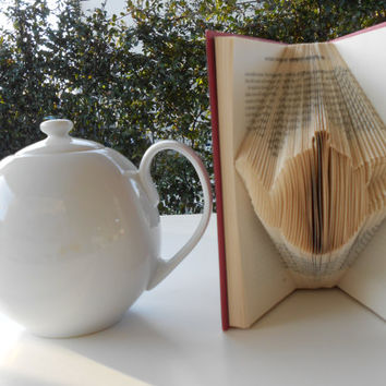 Folded Book Art - Tea Pot - Tea Lovers - Origami -  Home decor