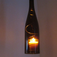 Upcycled wine bottle hurricane candle holder, brown, OUTDOOR LIGHTING, Recycled Wine Art, Hanging hurricane lamp