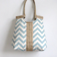 Blue chevron carry on hobo bag with burlap