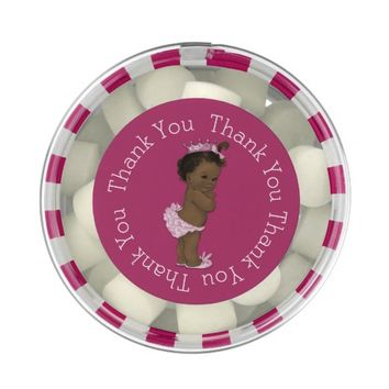 Ethnic Princess Baby Shower Pink Thank You Favor Chewing Gum Favors