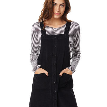 ELEMENT WOODEND WOMENS PINAFORE - BLACK