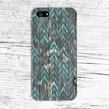 Chipped Wood x Teal Oil Paint Chevron Phone Case for iPhone 6 6 Plus iPhone 5 5s 5c 4 4s Samsung Galaxy s6 s5 s4 & s3 and Note 5 4 3 2
