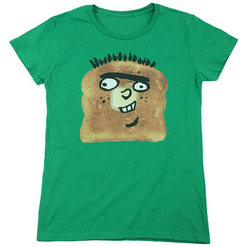 Ed, Edd n Eddy Ed Toast Kelly Green Womens T-Shirt
