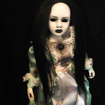 Art Doll - OOAK doll - Halloween doll-horror doll - creepy doll - Gothic doll - porcelain doll - custom doll - blue hair