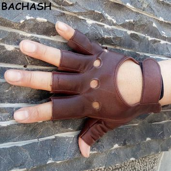 Fashion Half Finger Driving Women Gloves  Leather Gloves For Women Brow Solid