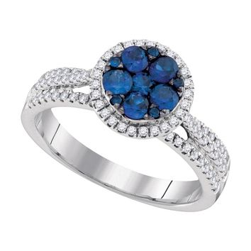 14kt White Gold Womens Round Blue Sapphire Cluster Circle Frame Diamond Ring 7/8 Cttw
