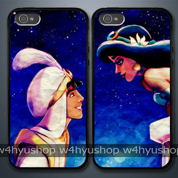 Aladdin and Princess Jasmine iPhone 5 4/4S Samsung Galaxy S3 Couple Hard Plastic Cases