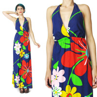 60s 70s Floral Cotton Halter Dress (S/M)