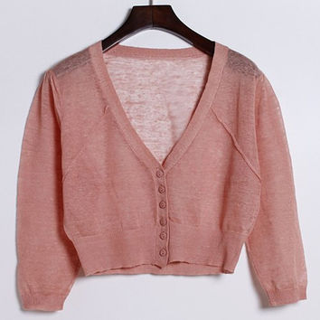 Solid Color Buttoned Cropped Cardigan