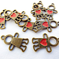 10 Heart Charms, Hand Painted Charms, Red Heart Charms, Red People Charms, Enamel Charms, 10 Bronze Charms, UK Seller, Jewelry Supplies