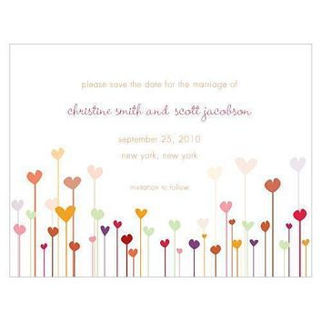 Hearts Save The Date Card Cool (Pack of 1)