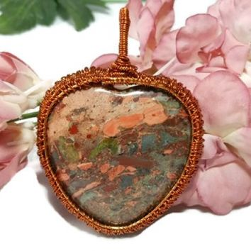 Wire Wrapped Heart Jasper Pendant, Wire Weave Jewelry, Gift for Her