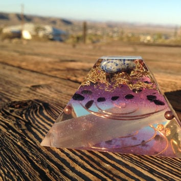 Flat Top Orgonite Pyramid, selenite, sacred geometry, spiritual gifts