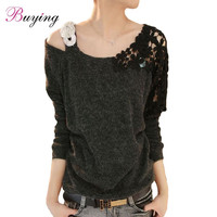 Knitted Crochet Sweaters 2016 Fashion Long Sleeve Sweater Knitwear Sequin Lace Flower Shoulder Plus Size Women Clothing