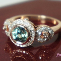 Heirloom petals ring with Bezel Teal by TheVintageGoldsmith