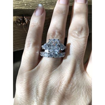 A Flawless 4.5CT Elongated Cushion Cut Belgium Lab Diamond Bridal Set