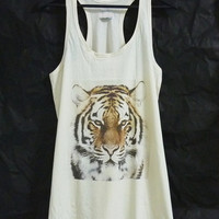 Bengal tiger tank top dress face animal big cat shirt off white t shirt/ women tunic top/ teen girl clothes gift ideas size M