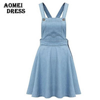 New 2016 Denim suspender overalls dress preppy style women fashion blue summer skater jupe Vestiti casual dresses gown robes