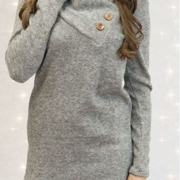 Gray Turn Down Collar Long-Sleeve Shirt