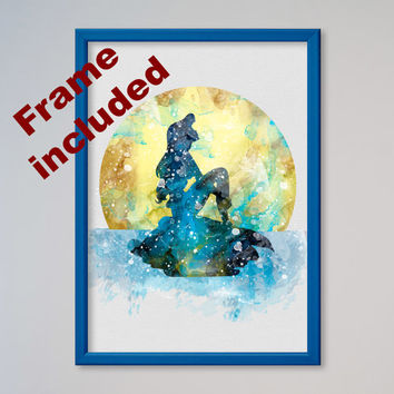 The Little Mermaid Ariel Poster Princess Ariel Watercolor Print Disney Watercolor Kids art Nursery Art FRAMED