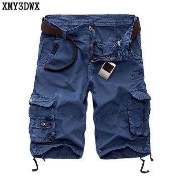 XMY3DWX Men's Shorts 2017 Summer Calf-length Men Shorts Cotton Casual Mens Military Style Army Tactical Long Cargo Shorts