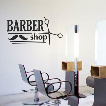 kik836 Wall Decal Sticker Room Decor Wall Art Mural barber shop salon male mustache razor haircut the Reception entrance hall